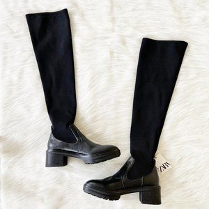 NEW Zara Black Chunky Over The Knee Sock Boots